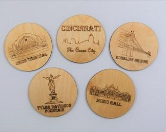 Cincinnati Coasters - Set of 5 wood laser cut