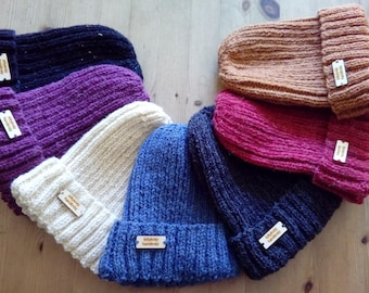 Handknitted ribbed beanie hats with fold back brim - 8 colours