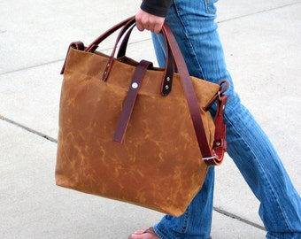 Waxed Canvas Tote with Leather Handles and Detachable Leather Strap- Diaper Bag- Weekender