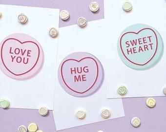 Candy Heart Art Prints | Kids Poster
