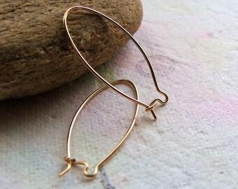 14k Gold Filled Ear Wires - Oversized Kidney - 22 gauge