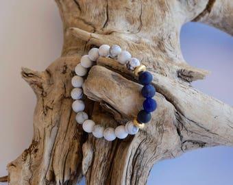 Howlite & sodalite bracelet - gemstone jewelry - gold accent jewelry