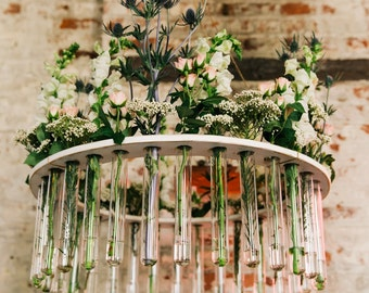 Flower chandelier etsy wooden test tube flower chandelier weddings garden parties rustic weddings as seen at the not wedding nyc and on ruffled blog aloadofball Gallery