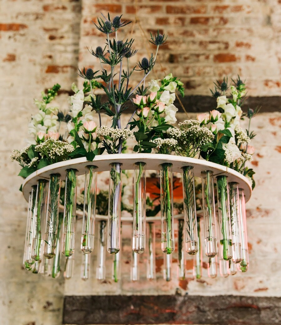Wooden test tube flower chandelier weddings garden parties zoom reviewsmspy
