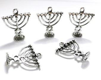 Hanukkah Charms: Silver Tone Menorahs with Star of David, 27x24mm, Set of 5, Menorah Pendant, Chanukah Charm, Festival of Lights