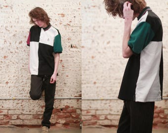 Vintage 1990s large oversized Chaps Ralph Lauren color block polo shirt / black and white / maroon / forest green