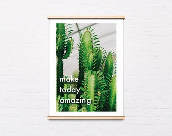 Botanical art poster, Succulent poster, Cactus poster, Happy Quote, Cacti wall art, Instant Download, Printable Wall Decor, Digital Print