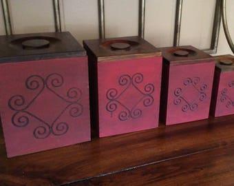 Vintage Wood Canister Set~Nesting Canisters~Kitchen Canister Set