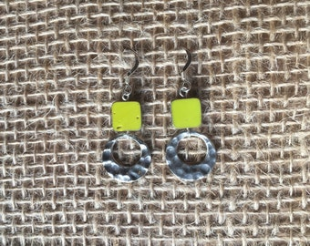 Green hammered Circle Earrings