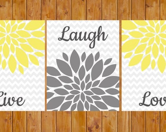 Live Laugh Love Yellow Floral Flower Burst Gray Grey Wall Art Home Decor Bedroom Bathroom 3- 8x10 DIY Printable (112)