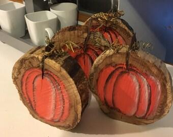 Wood Slice Pumpkin, Halloween Decor,Fall Decor, Pumpkin, Rustic Fall Decor