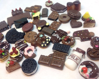 20pc Chocolate Candy Cookies Flatback Kawaii Cabochon Supplies Decoden iPhone Case Deco Decoration