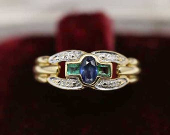 T52 ancient ring in 18k White Gold 18k set with Emerald Diamond Sapphire - US size 6