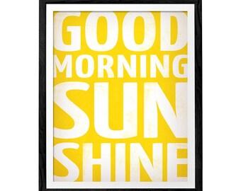 Good morning sunshine print. Typography print typography poster typography art typographic print typographic wall art yellow print