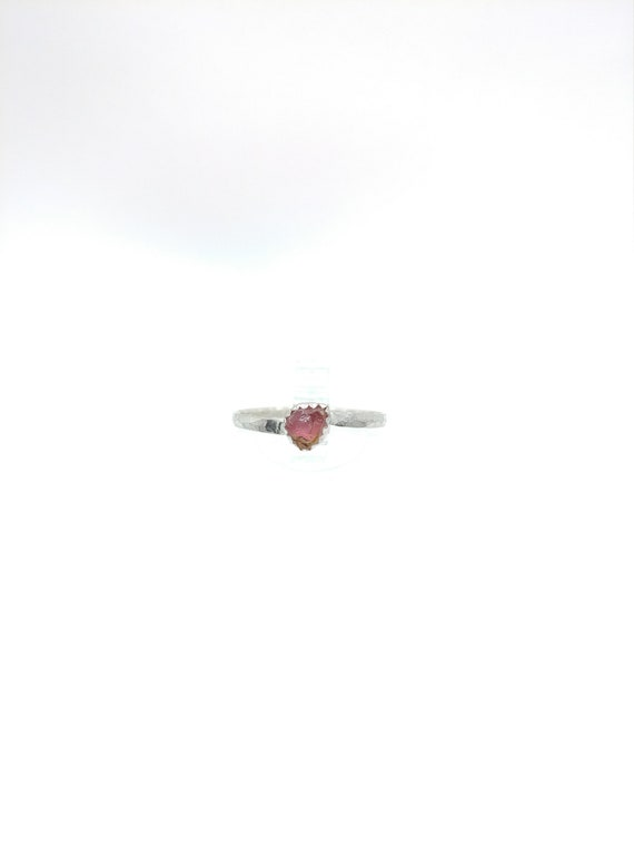 Watermelon Tourmaline Ring   Sterling Silver Ring Sz 7.5    Raw Tourmaline Ring   Raw Crystal Ring   Uncut Gemstone Ring   Pink Crystal Ring