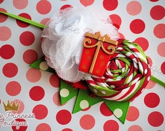 Under the Tree - Headband, Baby Headband, Photography Prop, Couture Headband, Hair Clip, Christmas Headband, Holiday Headband, Red Green