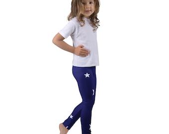 Kids leggings, Blue Leggings with white Stars, Toddler Pants, Gymnastic Leggings, Kids Clothing, Kids Dance Wear, Kids Star Legging