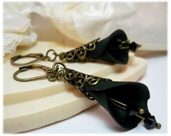 Large Calla Lily Crystal Earrings - Long Calla Lily Earrings, Calla Lily Jewelry