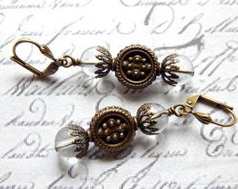 Quartz Crystal Earrings - Antique Style Earrings - Vintage Style Earrings - Romantic Victorian Style Earrings