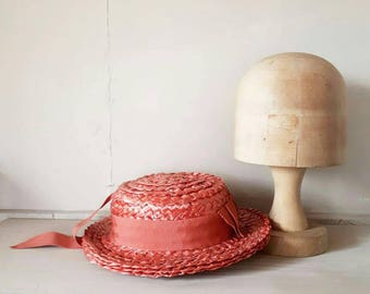 Straw Boater Hat Summe Hat Peach Orange