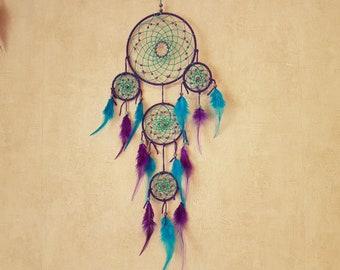 Dream catcher, handmade dreamcatcher, purple and turquoise wall decor / actual 70 cm
