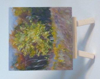 Small Original Landscape Oil Painting - Golden Tree