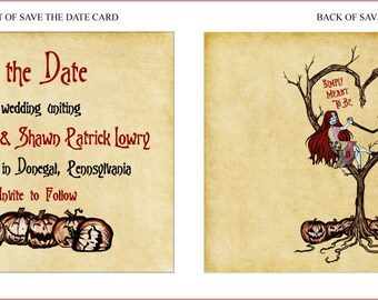 Save the Date Cards - Style 2 Vintage Fall Autumn Halloween Spooky Burton Style Wedding or Event