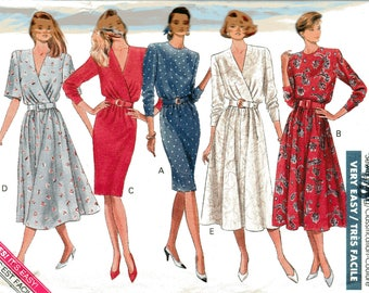Very Easy Butterick Classics Pattern 4217 MOCK WRAP DRESSES Misses Sizes 12 14 16