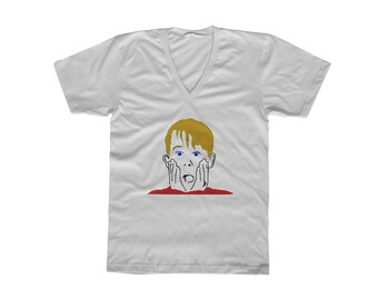 Home Alone T-Shirt, Color on White V-Neck,Kevin McCallister,Macauley Culkin,90s Christmas Movie,Mens Christmas Gift,Boyfriend Christmas Gift