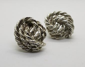 Signed Lanvin Paris Silver Toned Rope Swirl Clip Back Earrings, 1970's 70s