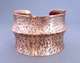On Sale : Hammered Copper Cuff Bracelet Indie Artisan Handmade Rustic Earthy Modern Boho Edgy Metal 7th Anniversary Jewelry, Seventh Willow