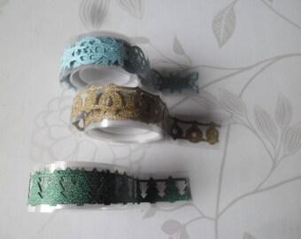 x 3 mixed ribbons lace masking tape glittery Christmas pattern 16 mm