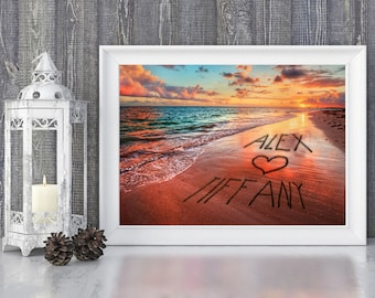 Personalized Names in sand beach, Home Decor, Couple Gift, Romantic Gift, Unique Valentine, Wedding Gift