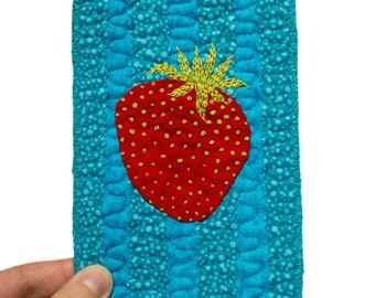 Textile art with strawberry in postcard size - strawberry in miniature with hand embroidered details