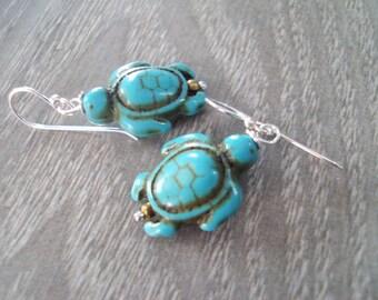 Turtle earrings,Turquoise earrings,sterling silver earrings,stone earrings