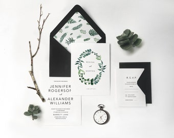 Botanic Fern Invite Woodland Wedding Invitation Greenery Invitation Watercolor Wreath Fern Leaves Invitation Greenery Wedding 14