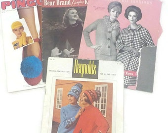 Set of Four Magazine Booklets for Knitting Many Projects