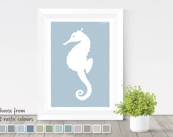 Seahorse print, nautical home decor, silhouette sea creature, coastal theme, seahorse poster, sea animals