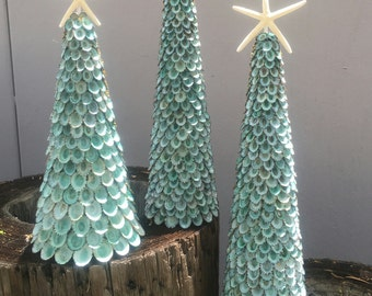 Blue Limpet Topiary Tree w/ White Finger Starfish Top- blue-green aqua colors/ Coastal Christmas Shell Tree/ Beach Nautical Holiday Decor