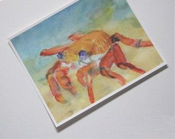 Sally Lightfoot Crab Watercolor Print  Beach House Wall Decor Seashore Picture Marine Life Painting Shore Seaside Artwork Ocean Sea Cancer