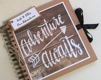 Personalised Adventure Awaits Scrapbook Photo Album Our Adventure Book  Hand Made Holiday HoneymoonTravel Memories Book