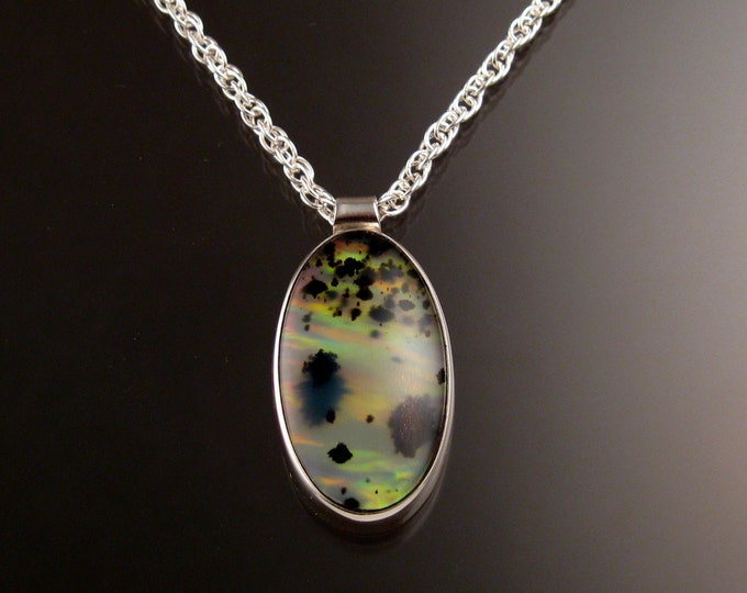 Plume Agate and Lab Opal Doublet Necklace adjustable length Sterling Silver Handmade Necklace