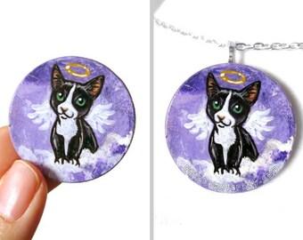 Tuxedo Cat Painting, Purple Necklace, Angel Pendant, Hand Painted Wood Jewelry, Pet Loss, Pet Memorial Gift, Black & White Cat Art