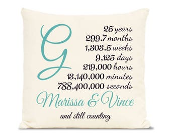 25 years - Celebrate the 25th year with this personalized anniversary gift, monogrammed, pillow cover, twenty five