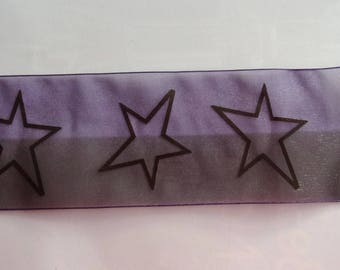 4.50 metres of Ribbon VOILE two-tone purple and black/stars width 70mm - REF. 949
