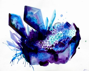 Andromeda Crystal Cluster Original Watercolor Painting The Desert Moon Handmade Colorful Tranquil Energy Abstract Quartz Amethyst Cluster
