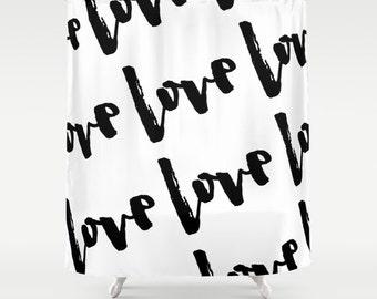 Love Black and White Shower Curtain, Standard or Extra Long Fabric Shower Curtain, Bathroom Decor, Bath Curtain, Housewarming Gifts