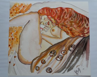 Danae-Watercolor No. 46-2009 Gustav KLIMT Atupertuarte Original Watercolor