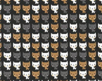 Suzy's Minis - Cats Fabric - Black - By Robert Kaufman Fabrics