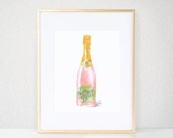 Fashion Print, Blush Champagne - Watercolor, Champagne